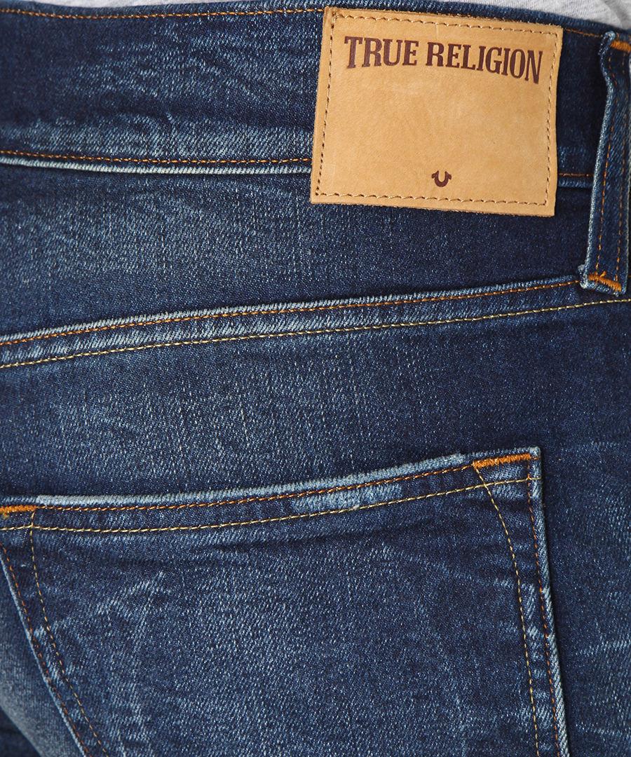 true religion dark blue distressed cotton slim jeans. Black Bedroom Furniture Sets. Home Design Ideas