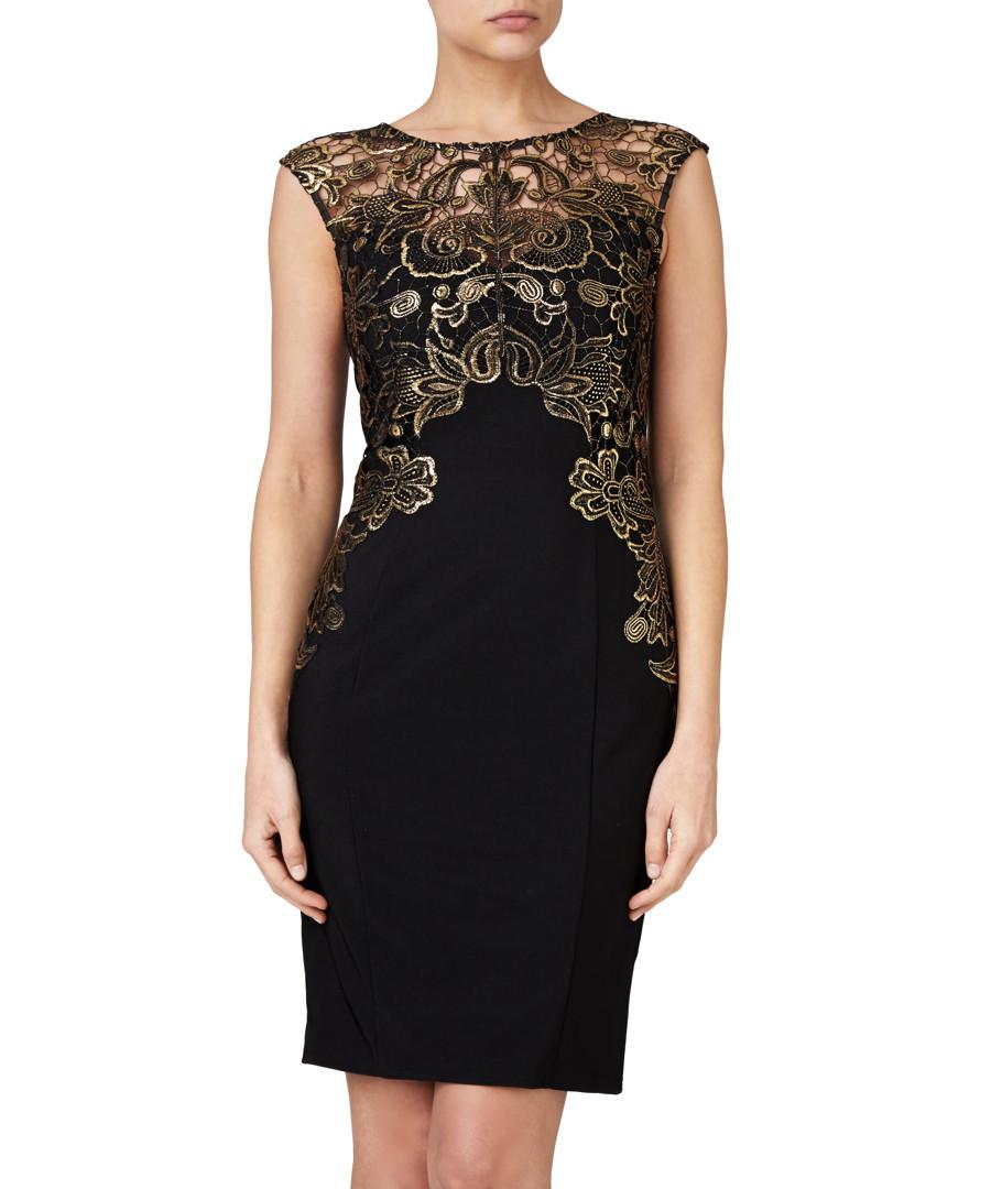 Black and gold lace dress lipsy