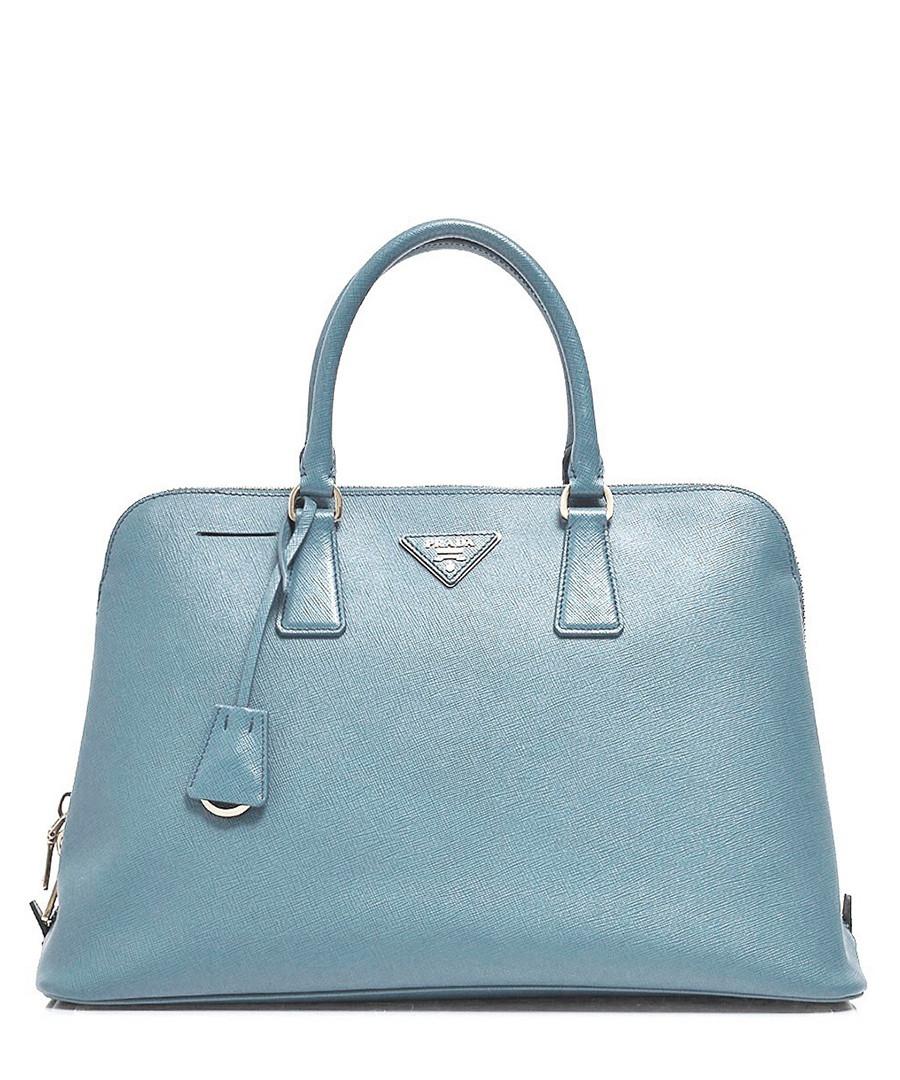 Home Prada Handbags Pale blue leather zip-around grab bag