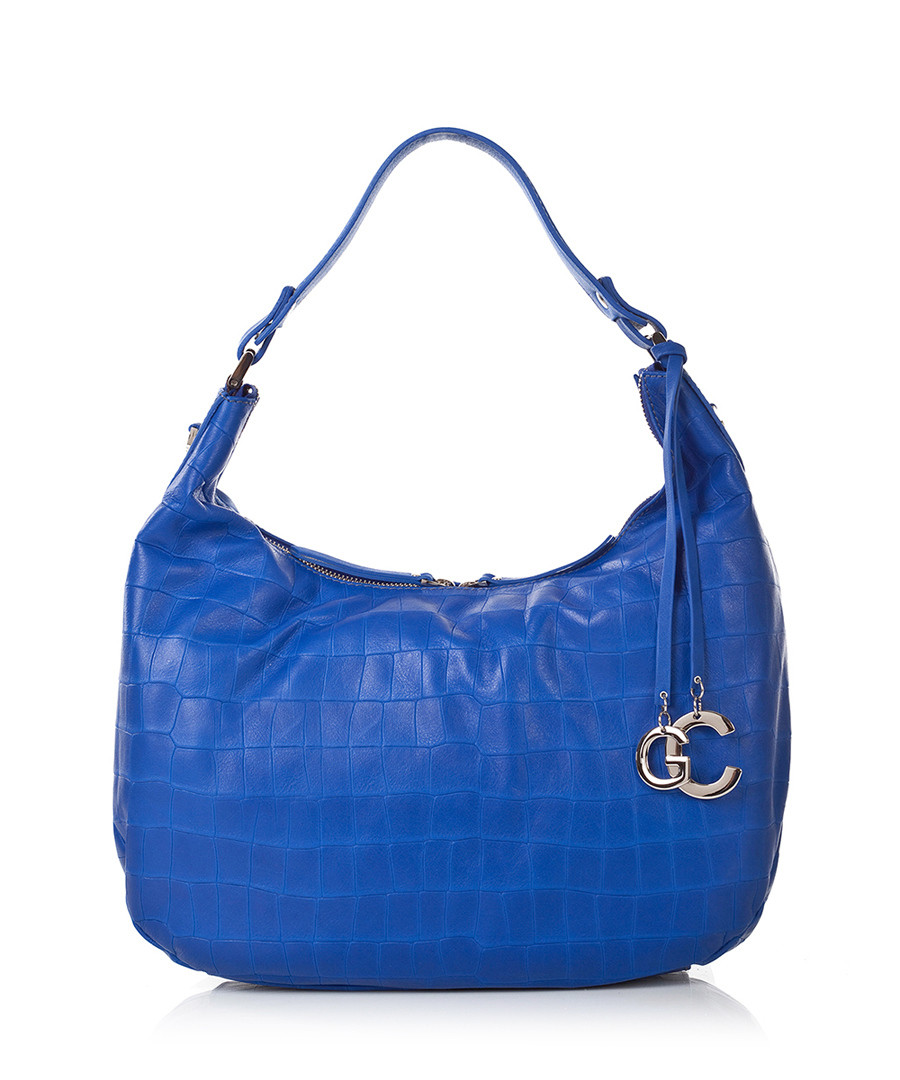 Home Classic Leather Handbags Blue croc-effect leather slouch bag