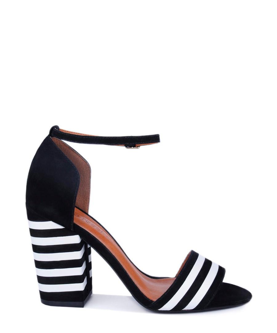 Kate Spade Karolina Black Patent Pumps Heels Shoes Striped Heel 7 1/2 Stunning pair of Karolina heels from Kate Spade. Rounded toe Stiletto heel embossed with black/white stripe pattern.