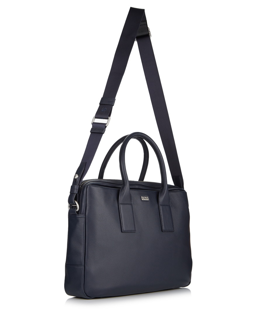 hugo boss navy leather shoulder satchel bag designer bags. Black Bedroom Furniture Sets. Home Design Ideas