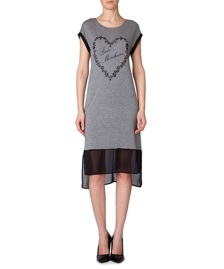 love moschino grey jewel heart dress designer dresses sale love moschino for women secretsales. Black Bedroom Furniture Sets. Home Design Ideas