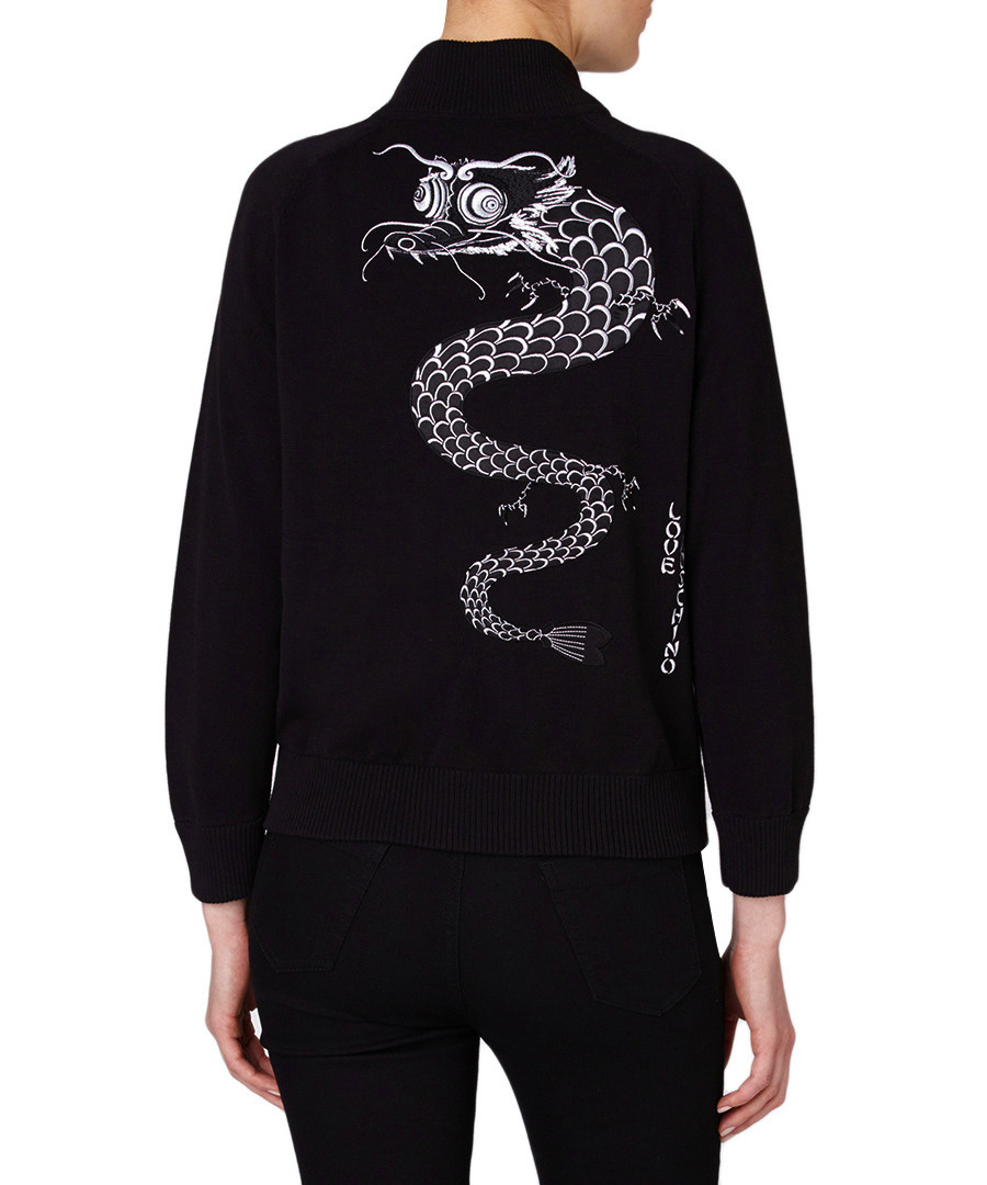 Love moschino black embroidered dragon cotton jacket