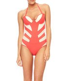 Coral & white striped swimsuit