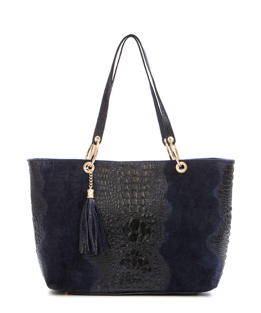 Home Italian Leather Handbags Blue leather tassel shoulder bag