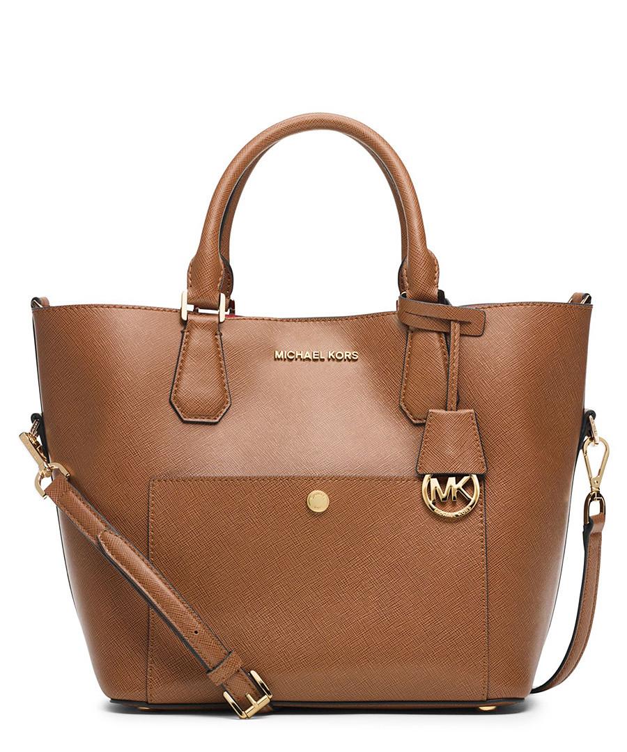 michael kors greenwich large brown leather grab bag. Black Bedroom Furniture Sets. Home Design Ideas
