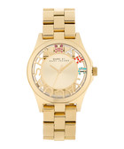 Henry gold-tone & multi crystal watch