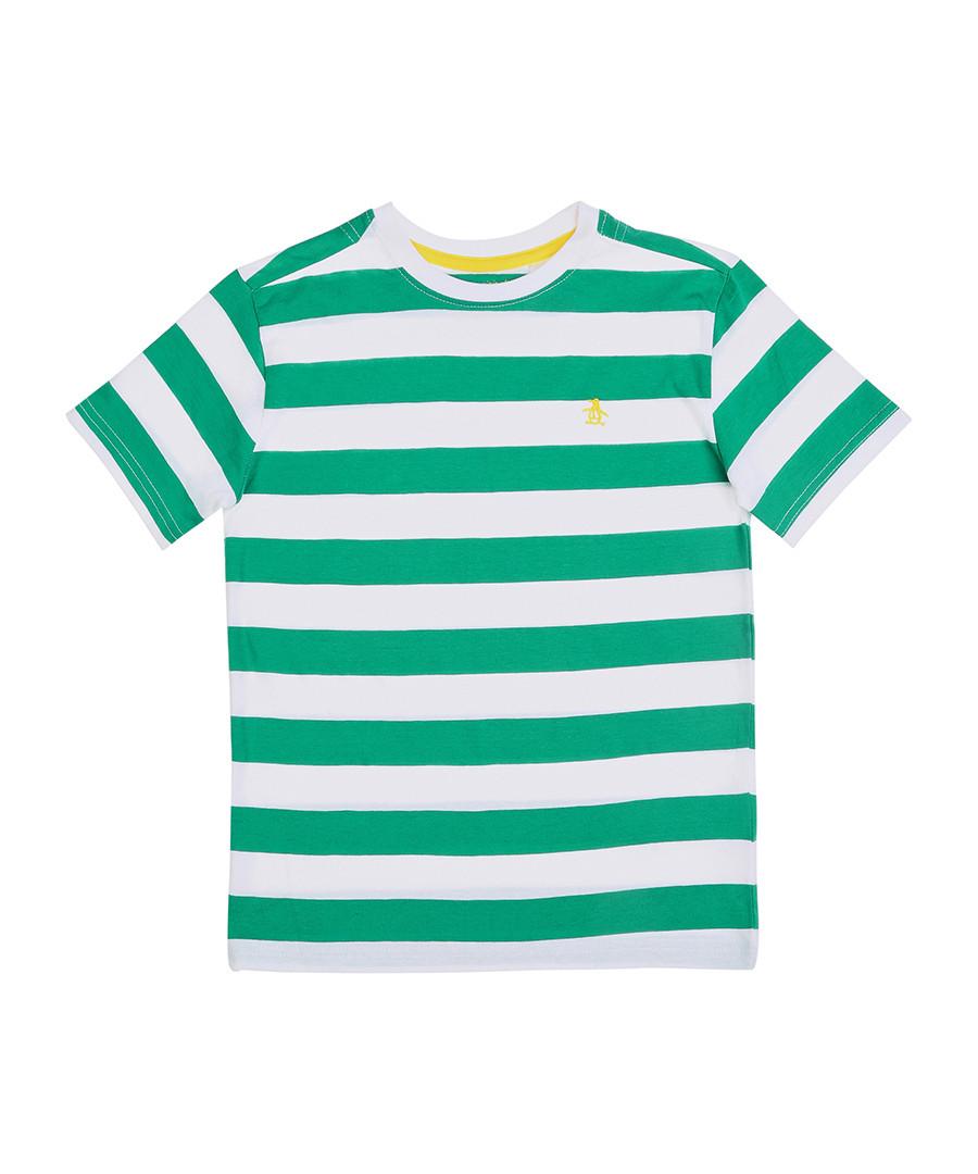 Original Penguin Green White Striped Cotton T Shirt