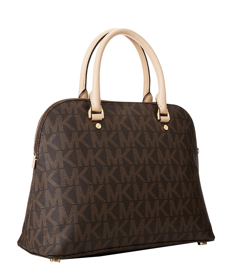 michael kors cindy large brown dome satchel designer bags sale michael kors handbags secretsales. Black Bedroom Furniture Sets. Home Design Ideas