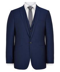 Dark blue wool blend blazer