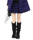 Blue cotton blend dogtooth mini skirt