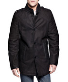 Bakan black leather sheepskin long coat