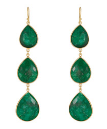 Green emarald drop earrings