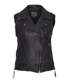 Cassidy black leather gilet