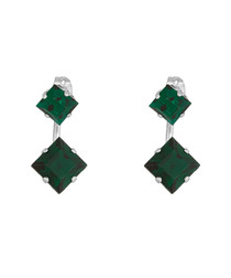 Green square Swarovski crystal earrings