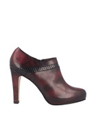 Bordeaux leather heeled ankle boots