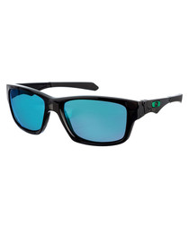 Black & aqua rectangle sunglasses
