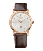 Slim Ultra Round brown leather watch