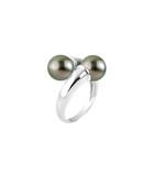 0.9cm Tahitian pearl crossover ring