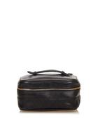 Quilted leather black vanity bag
