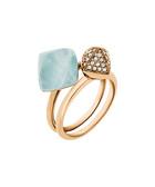 2pc gold-tone & blue ring set