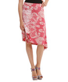 Red lace print asymmetric skirt