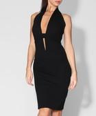Black plunge neck halterneck dress