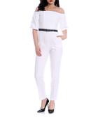 White off shoulder jumpsuit