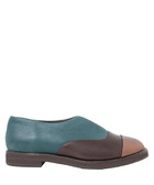 Sina teal & brown leather slip-on flats