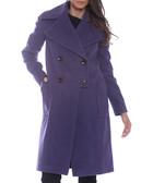 Purple wool blend double breasted coat