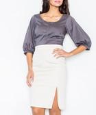 Grey high-waist mini skirt