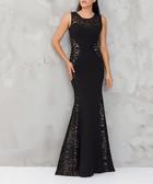 Black printed cotton blend maxi dress