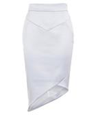 Adelia blue asymmetric pencil skirt