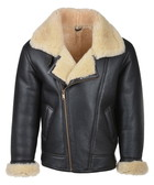 Brown & cream sheepskin aviator jacket