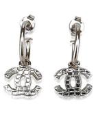 Silver-tone logo hoop earrings