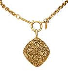 Gold-tone diamond-shaped pendant