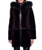 Reve maroon shearling coat