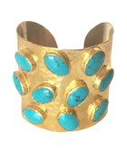 18ct gold-plated brass & turquoise cuff