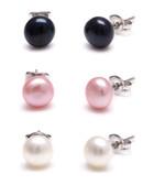 3pc 0.7cm multicoloured pearl earrings