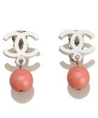 White & pink CC drop earrings
