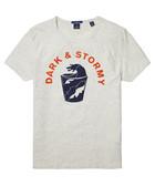 White cotton blend printed T-shirt