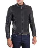 Black leather high-collar biker jacket