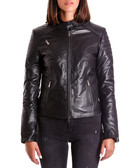Black leather rib & quilted jacket