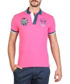 Pink cotton blend emblem polo shirt