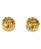 Gold-tone logo floral clip-on studs
