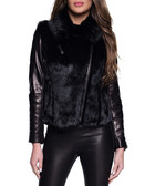 Biatrix leather & fur collared jacket