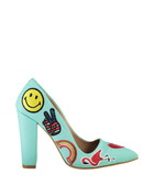 Sea green linen embroidered motif heels