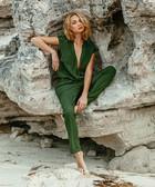 Santa olive green voile jumpsuit