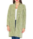 Olive wool-blend textured open coat
